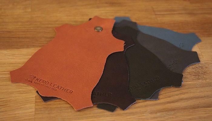 Färgprov semianilin: Barkbrun, Antikbrun, Oligrön, Antracit, Ljusblå.