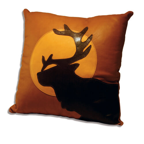 Leather pillow reindeer