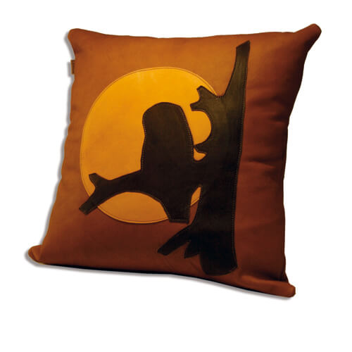 Leather pillow owl 1